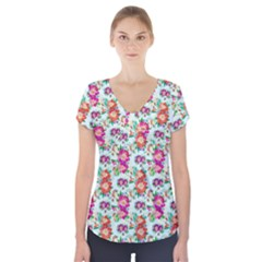 Floral Flower Pattern Seamless Short Sleeve Front Detail Top