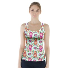 Floral Flower Pattern Seamless Racer Back Sports Top