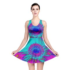 Retro Colorful Decoration Texture Reversible Skater Dress