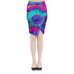Retro Colorful Decoration Texture Midi Wrap Pencil Skirt