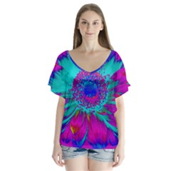 Retro Colorful Decoration Texture Flutter Sleeve Top