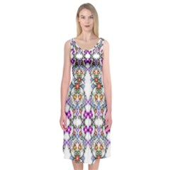 Floral Ornament Baby Girl Design Midi Sleeveless Dress