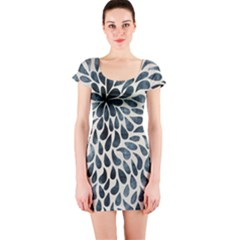 Abstract Flower Petals Floral Short Sleeve Bodycon Dress