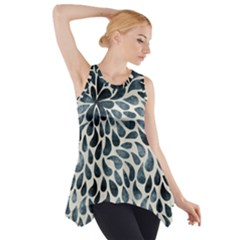 Abstract Flower Petals Floral Side Drop Tank Tunic