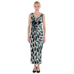 Abstract Flower Petals Floral Fitted Maxi Dress