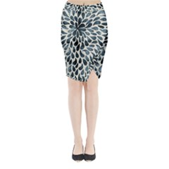 Abstract Flower Petals Floral Midi Wrap Pencil Skirt