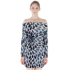 Abstract Flower Petals Floral Long Sleeve Off Shoulder Dress