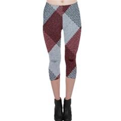 Textile Geometric Retro Pattern Capri Leggings