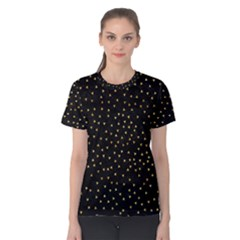 Grunge Retro Pattern Black Triangles Women s Cotton Tee