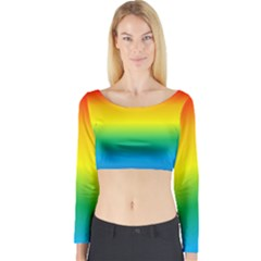 Rainbow Background Colourful Long Sleeve Crop Top