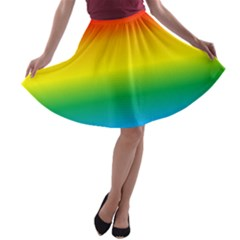 Rainbow Background Colourful A-line Skater Skirt