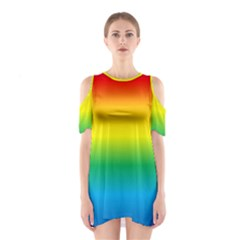 Rainbow Background Colourful Shoulder Cutout One Piece