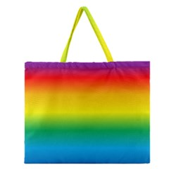 Rainbow Background Colourful Zipper Large Tote Bag