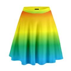 Rainbow Background Colourful High Waist Skirt