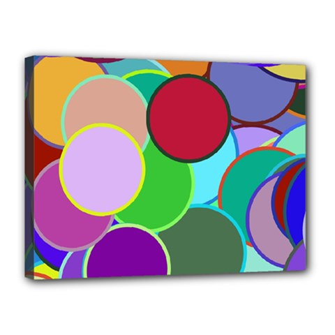 Dots Circles Colorful Unique Canvas 16  X 12