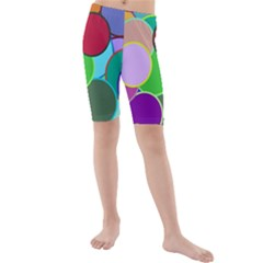 Dots Circles Colorful Unique Kids  Mid Length Swim Shorts