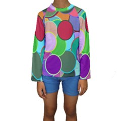 Dots Circles Colorful Unique Kids  Long Sleeve Swimwear
