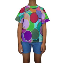 Dots Circles Colorful Unique Kids  Short Sleeve Swimwear