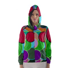 Dots Circles Colorful Unique Hooded Wind Breaker (Women)