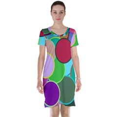 Dots Circles Colorful Unique Short Sleeve Nightdress