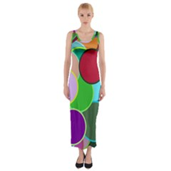 Dots Circles Colorful Unique Fitted Maxi Dress