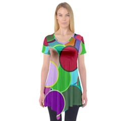 Dots Circles Colorful Unique Short Sleeve Tunic