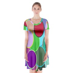 Dots Circles Colorful Unique Short Sleeve V-neck Flare Dress