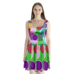 Dots Circles Colorful Unique Split Back Mini Dress