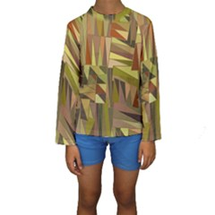 Earth Tones Geometric Shapes Unique Kids  Long Sleeve Swimwear