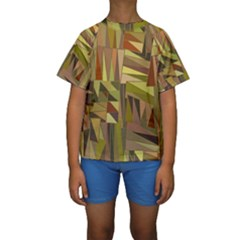 Earth Tones Geometric Shapes Unique Kids  Short Sleeve Swimwear