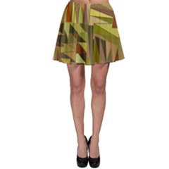 Earth Tones Geometric Shapes Unique Skater Skirt