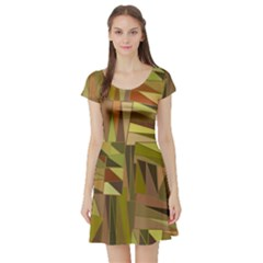 Earth Tones Geometric Shapes Unique Short Sleeve Skater Dress