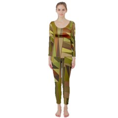 Earth Tones Geometric Shapes Unique Long Sleeve Catsuit
