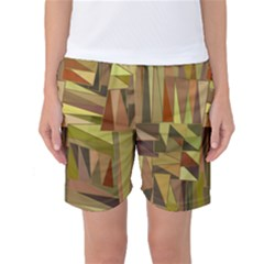 Earth Tones Geometric Shapes Unique Women s Basketball Shorts