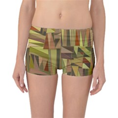 Earth Tones Geometric Shapes Unique Boyleg Bikini Bottoms