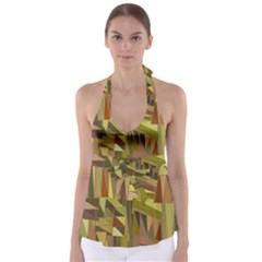 Earth Tones Geometric Shapes Unique Babydoll Tankini Top