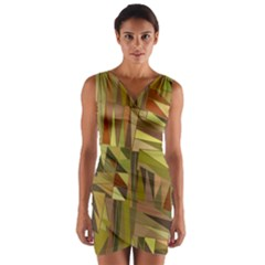 Earth Tones Geometric Shapes Unique Wrap Front Bodycon Dress