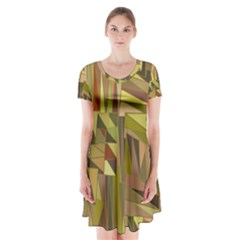 Earth Tones Geometric Shapes Unique Short Sleeve V-neck Flare Dress