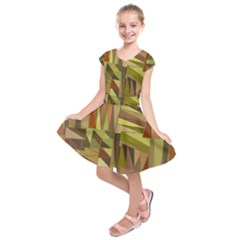 Earth Tones Geometric Shapes Unique Kids  Short Sleeve Dress
