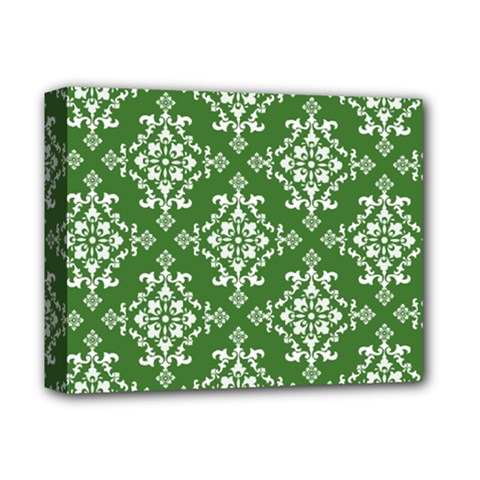 St Patrick S Day Damask Vintage Green Background Pattern Deluxe Canvas 14  x 11