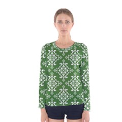 St Patrick S Day Damask Vintage Green Background Pattern Women s Long Sleeve Tee