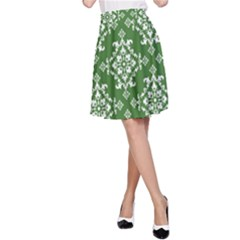 St Patrick S Day Damask Vintage Green Background Pattern A-Line Skirt