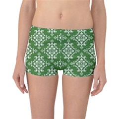 St Patrick S Day Damask Vintage Green Background Pattern Reversible Bikini Bottoms