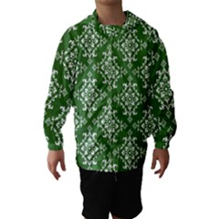 St Patrick S Day Damask Vintage Green Background Pattern Hooded Wind Breaker (Kids)
