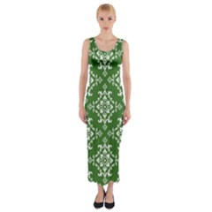 St Patrick S Day Damask Vintage Green Background Pattern Fitted Maxi Dress