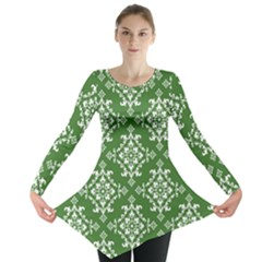 St Patrick S Day Damask Vintage Green Background Pattern Long Sleeve Tunic