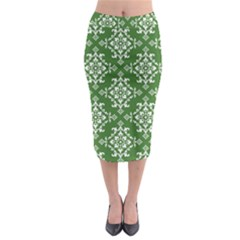 St Patrick S Day Damask Vintage Green Background Pattern Midi Pencil Skirt