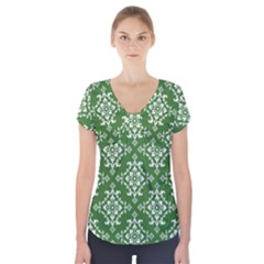 St Patrick S Day Damask Vintage Green Background Pattern Short Sleeve Front Detail Top