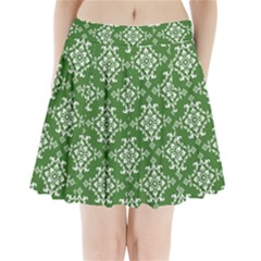 St Patrick S Day Damask Vintage Green Background Pattern Pleated Mini Skirt