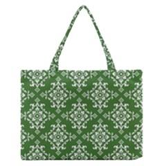 St Patrick S Day Damask Vintage Green Background Pattern Medium Zipper Tote Bag